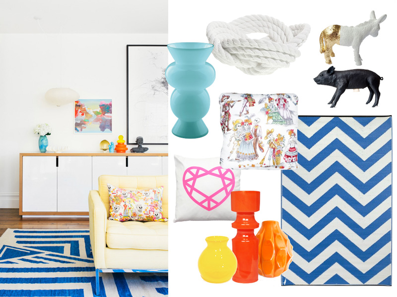 decor, vases, skull-cushion, chevron-rug, pig, areaware, ritzenhoff