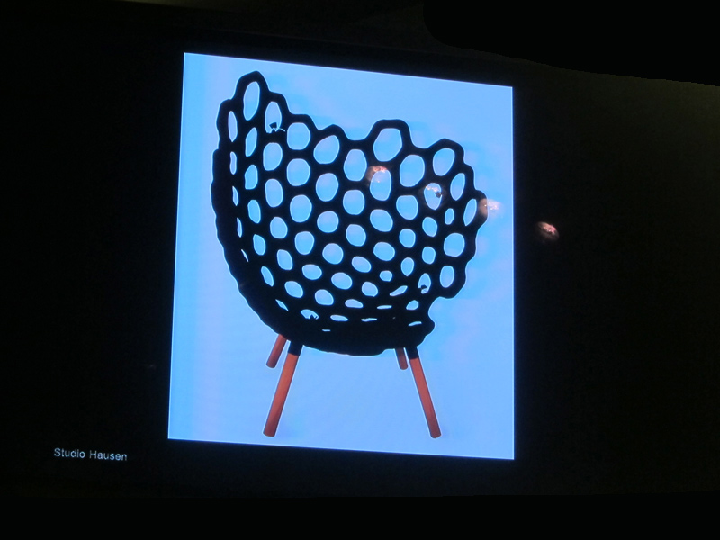 Studio Hausen, Joscha Brose, Textile Moulded Chair, 2010, part of presentation by Prof. Axel Kufus, Showroom Cassina, imm Cologne 2014, image ©designisti